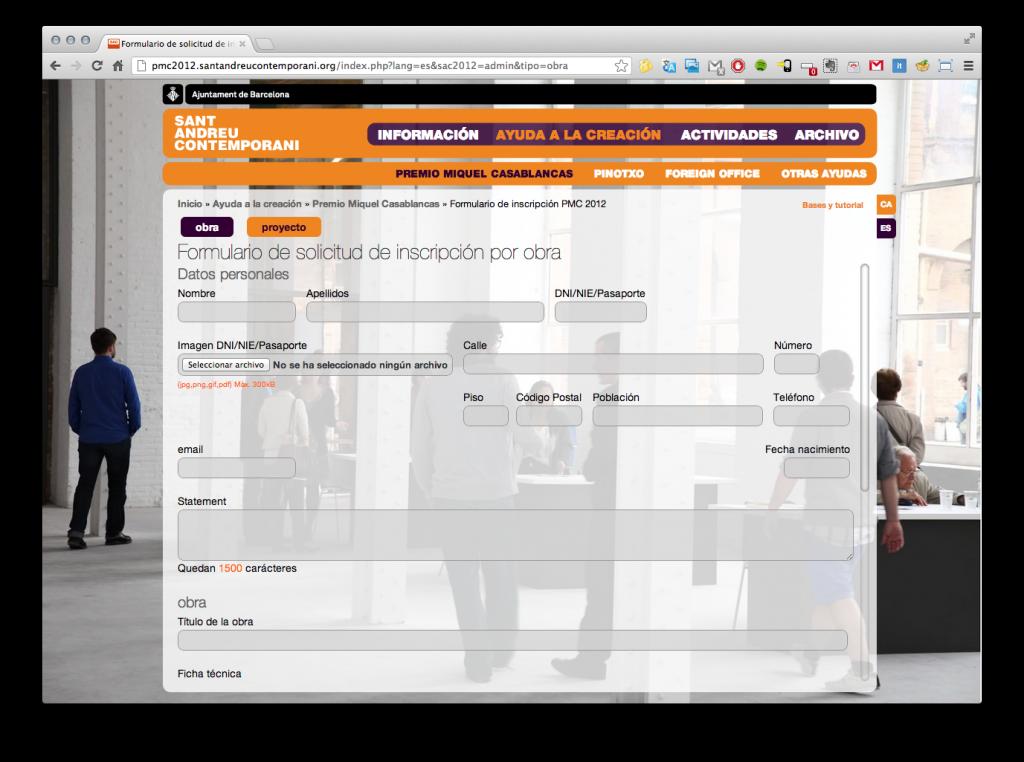 Diseño y programación del formulario de inscripción online