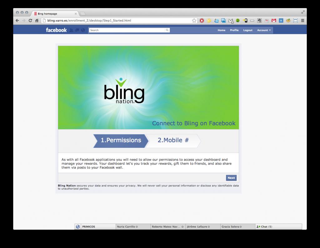 Programación y diseño de la página de captación en Facebook de Bling Nation, Inc.