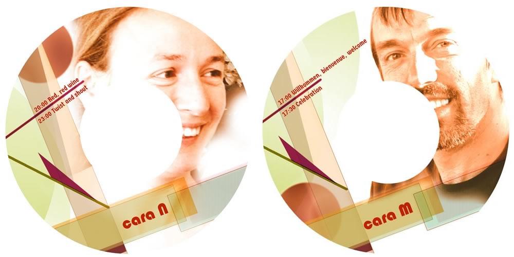 Imagen gráfica aplicada a las carátulas para los vinilos de la invitación