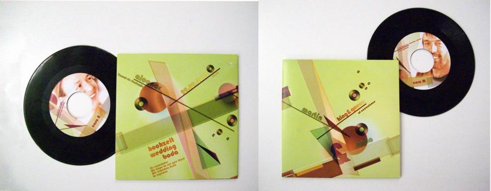 Foto del resultado físico de la imagen gráfica para los discos de vinilo de la invitación