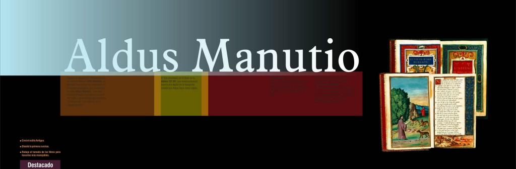 Maquetación de libro - cubierta de capítulo - Aldus Manutio