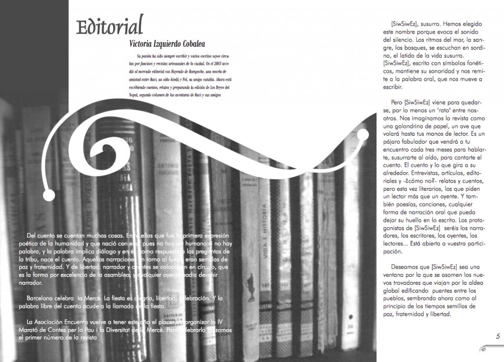 Maquetación revista Siwsiwez nº 1 (Editorial)