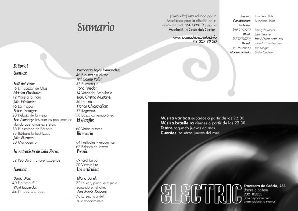 Maquetación de doble página del Sumario de la revista Siwsiwez nº 2